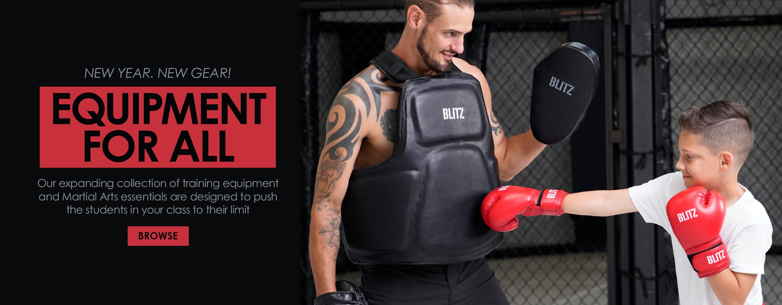 New year, new gear! Our expanding collection of training equipment and Martial Arts essentials are designed to push the students in your class to their limit.