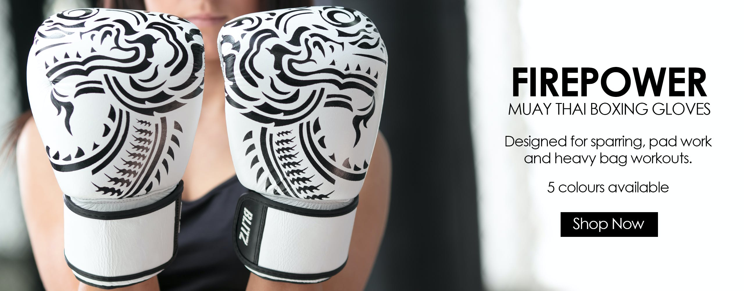 Firepower Muay Thai Boxing Gloves designed for sparring, pad work and heavy bag workouts