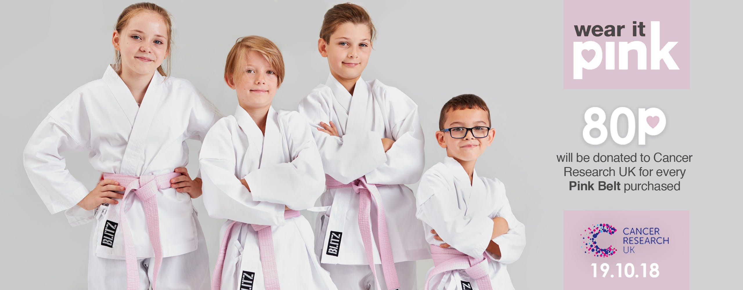 80p donated to Cancer Research UK for every Blitz Pink Belt purchased
