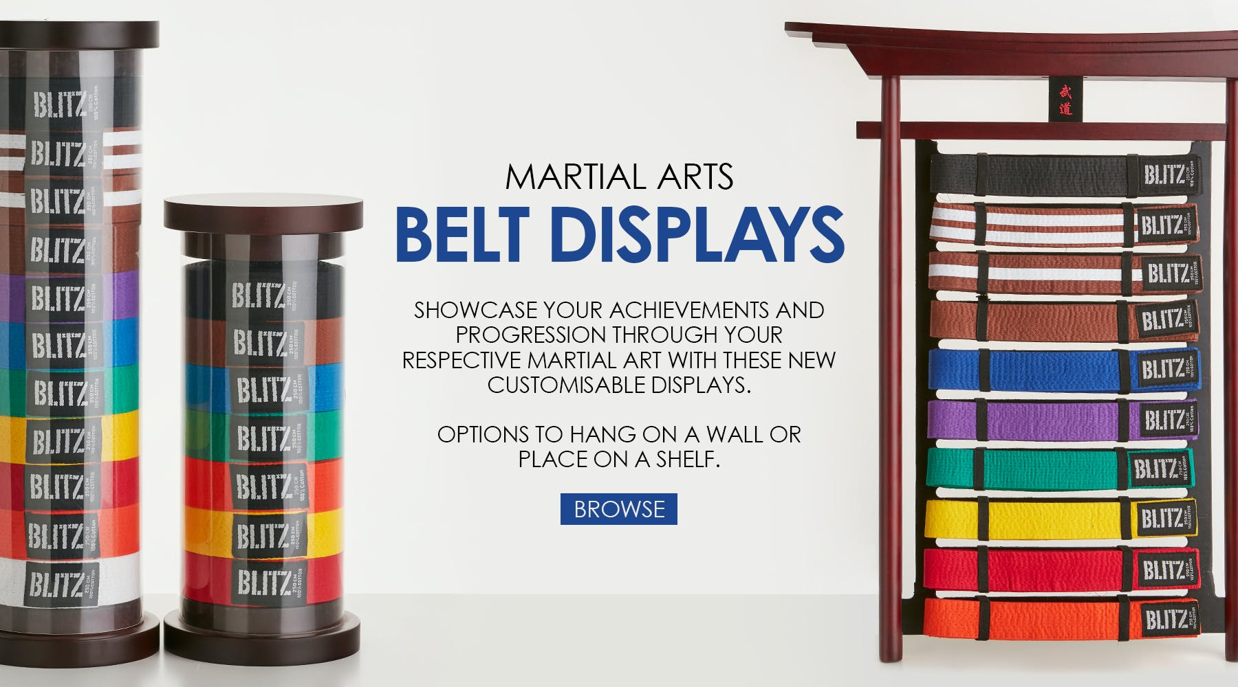 Browse our large collection of Martial Arts belts, available in a range of colours and sizes. Belts are suitable for any discipline including Karate, Judo and Brazilian Jiu Jitsu.