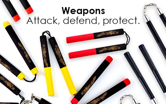 Attack, defend and protect with our collection of training aids. We stock a variety of Martial Arts training aids in wood, metal and rubber, along with foam safety training aids for children.