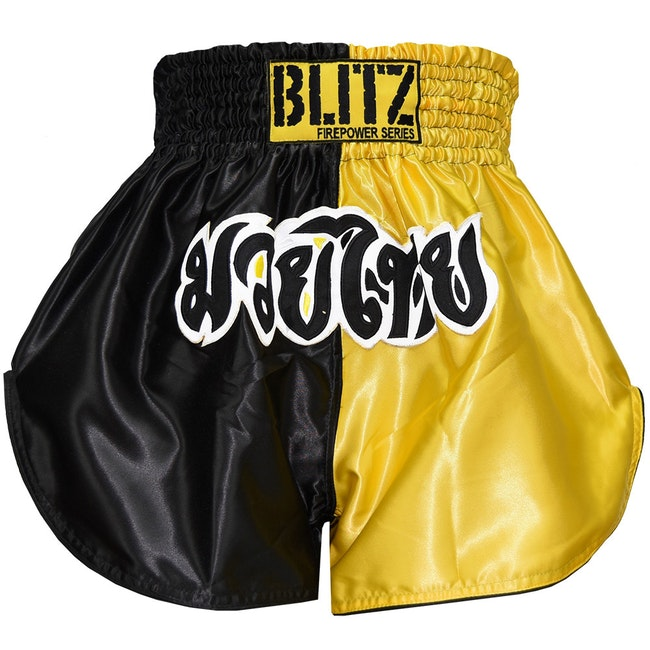 Blitz Adult Muay Thai Shorts - Yellow / Black