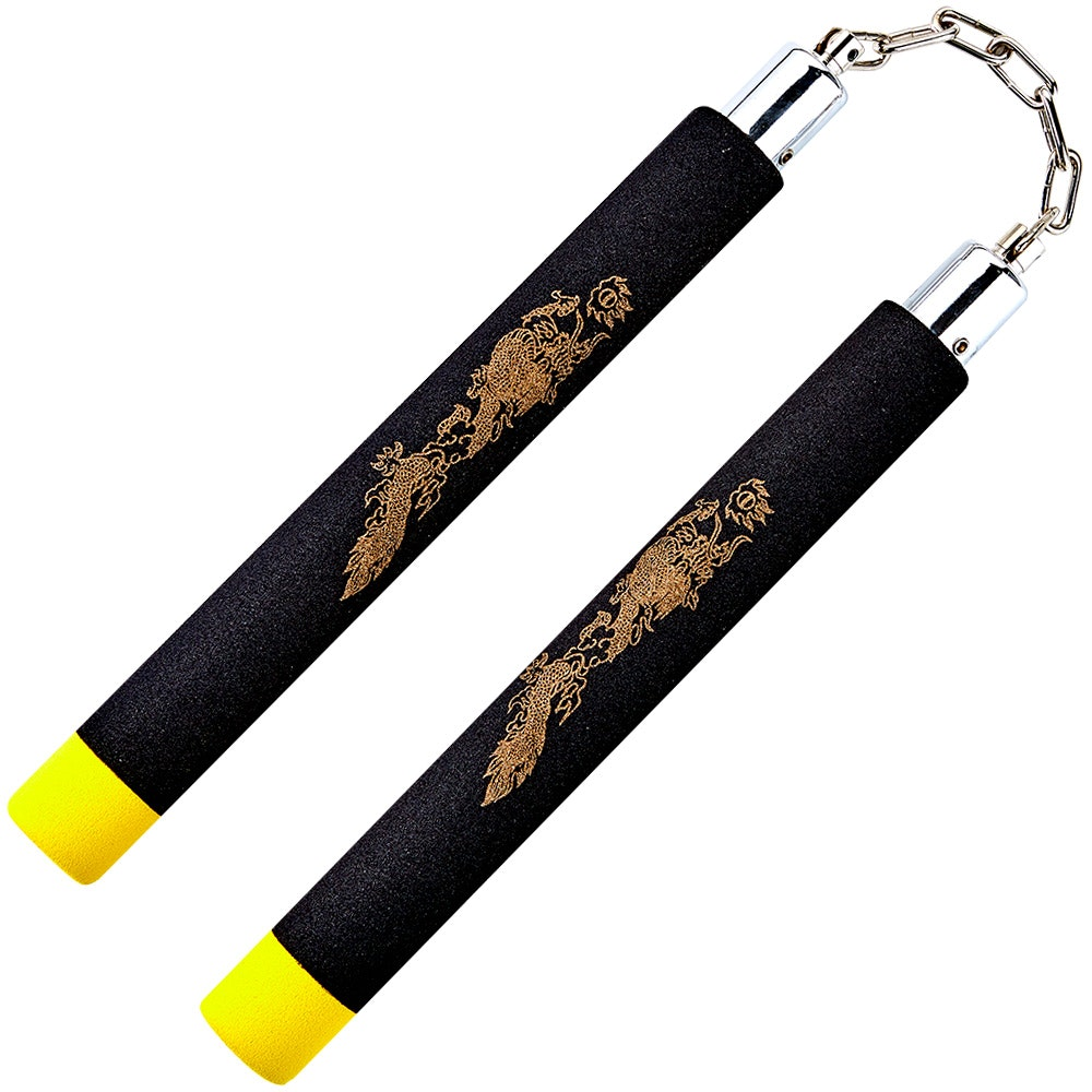 Black / Yellow Tip Foam Ball Bearing Nunchaku