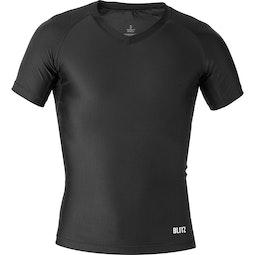 Hybrid V-Neck Short Sleeved Compression Top - Black