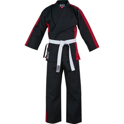 Junior Martial Arts Suit - Black / Red - 8oz