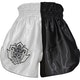 Kids Muay Thai Shorts in White / Black - Rear