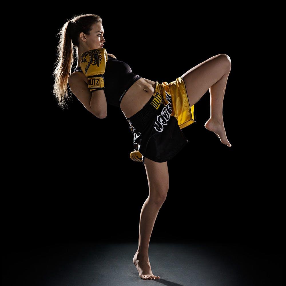 Blitz Kids Muay Thai Shorts Yellow Black