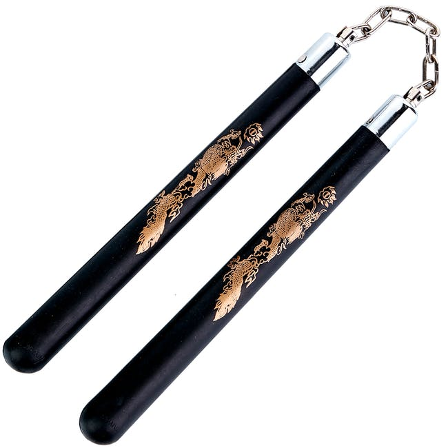 Blitz Black Hard Rubber Ball Bearing Nunchaku