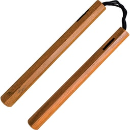 Blitz Natural Hexagonal Wood Cord Nunchaku
