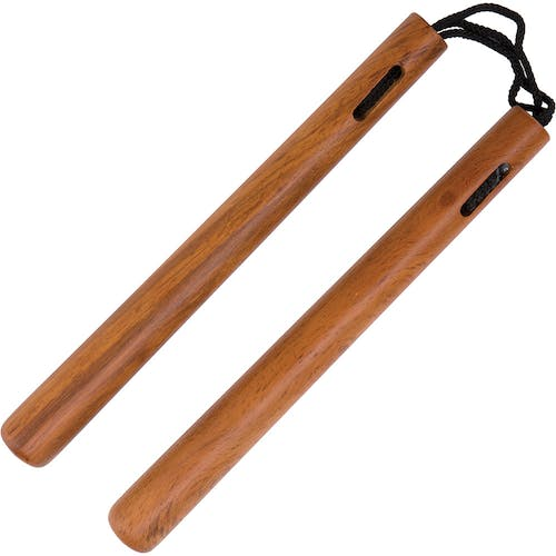 Blitz Natural Round Wood Cord Nunchaku
