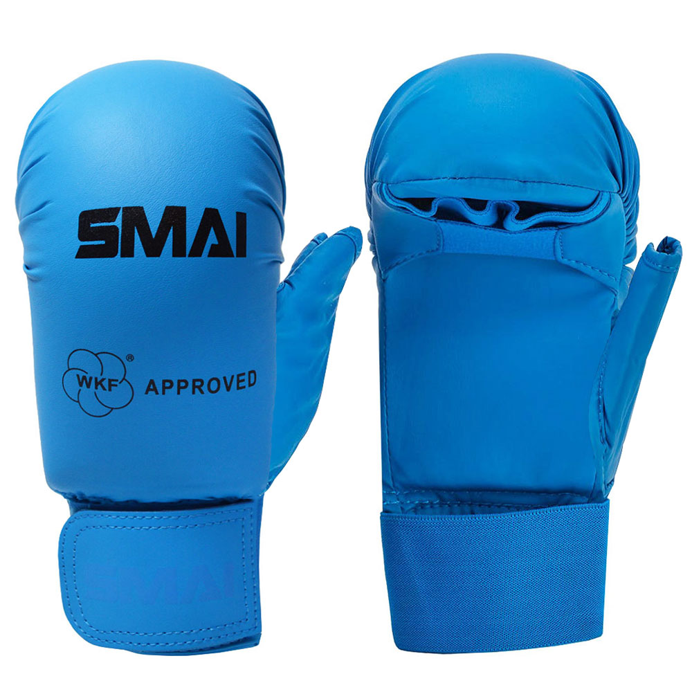 Image of SMAI WKF Approved Gloves With Thumb - Blue