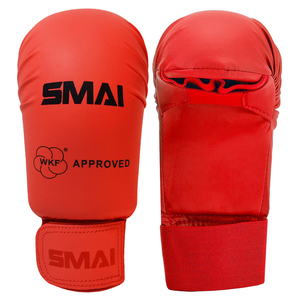 Image of SMAI WKF Approved Mitts Without Thumb - Red