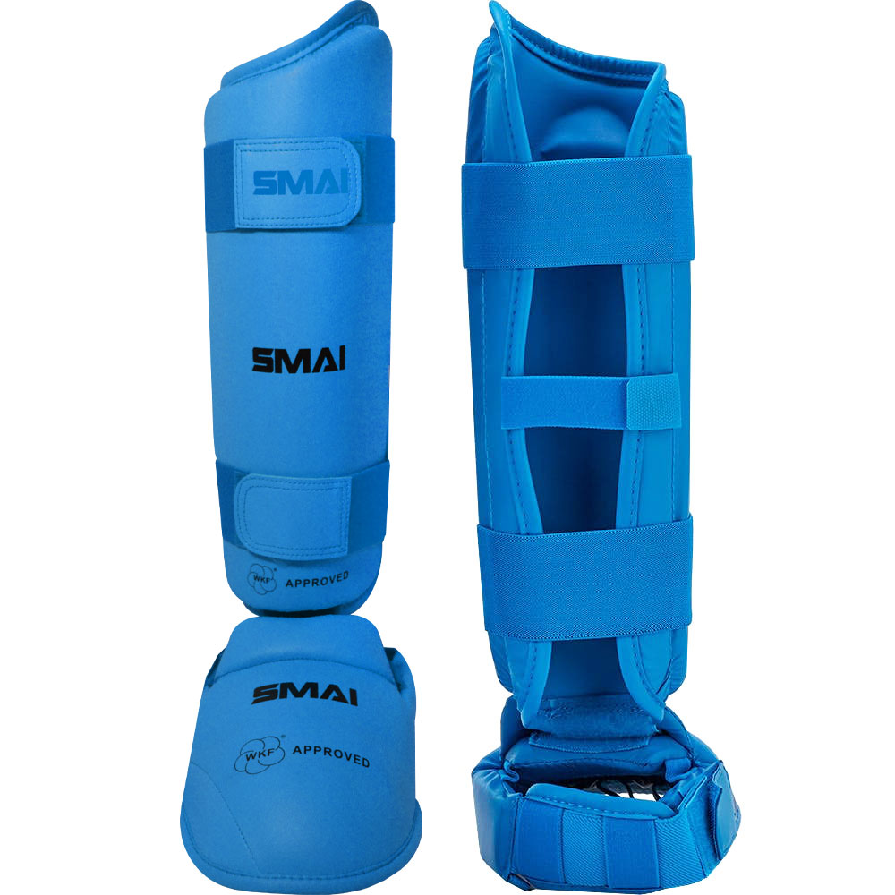 Image of SMAI WKF Approved Shin & Instep Guards - Blue