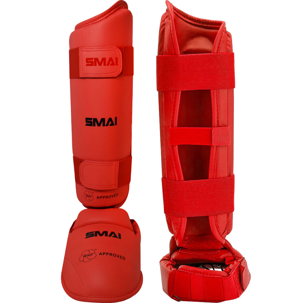 Image of SMAI WKF Approved Shin & Instep Guards - Red